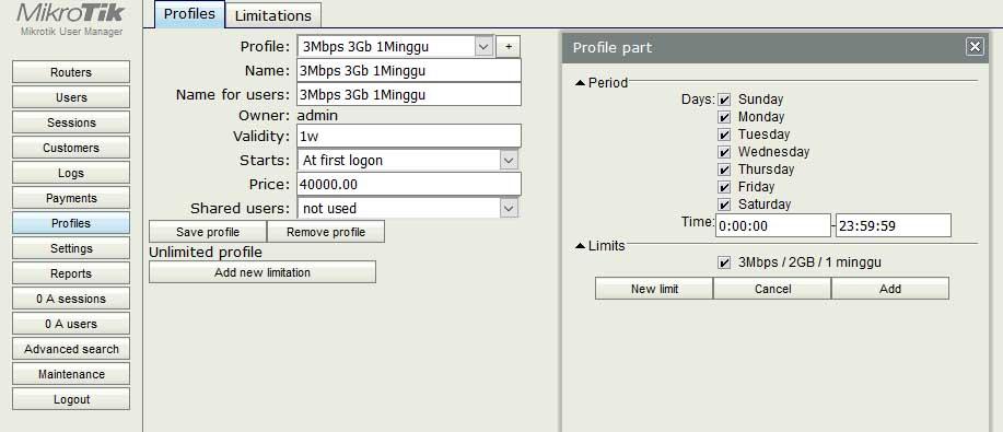 Konfigurasi user manager